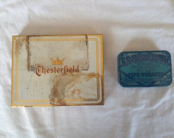 Vintage Tobacco/Cigarette Tins, Set of 2 - Edgeworth and Chesterfield