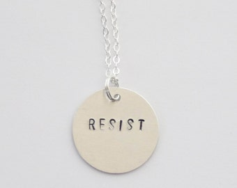 Resist Necklace, Resist Pendant, Resist Jewelry, Planned Parenthood Donation, Resistance Necklace, Nasty Woman Necklace, Civil Rights