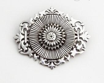 Ornate Hand Made Brooch Openwork Rim Jaeger Sterling Silver