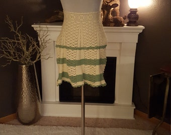 Green And Cream Crochet Vintage Apron