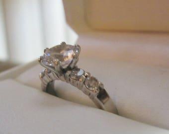 Vintage Faux Diamond Wedding Ring/Silver Diamond Ring/Sterling Diamond Engagement Ring