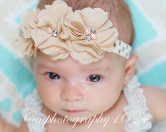 Beige Headband/Baby Headband/Baby Headband and Bow/Infant Headban/Baby Girl Headband/Girl Headband Baby/Toddler Headband/Photo Prop Baby
