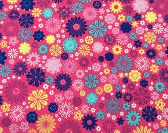 Look at Me Again! by M' Liss Yellow, Blue, & Pink Flowers on Bright Pink --1/2 yard