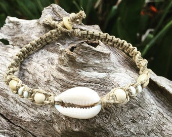 Hand Made Hemp Shell Anklet with Cowrie Shell & Timber Beads, Sea Gypsy Bohemian