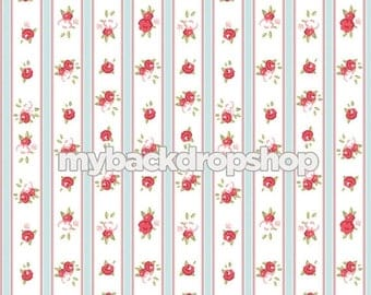 8ft x 8ft White and Blue Striped Floral Wallpaper Photography Backdrop - Red Rose Flower Photo Prop - Stripe Photo Backdrop - Item 3162