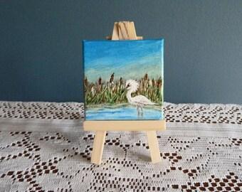 Swamp landscape painting, Egret mini painting, Florida art, Miniature painting with Easel, Marshland art