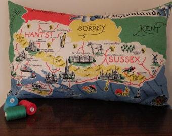 Vintage South East England Map Tea Towel Cushion