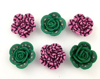 6 Polymer clay handmade flowers,flat back 25mm #FL118
