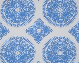 Floral Fabric by the Yard, Quilt, Quilting, Large Print, Medallion, Blue, White, Delft, Damask, Kitchen, Royal Blue, Picnic, Home, Decor