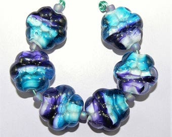 Handmade Lampwork Glass bead set of 6 flower beads in Aqua and Purple glass SRA