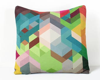Geometric Pillow Cover, Colorful Chevron Pillow, Modern Home Decor, Multicolor Throw, Scandinavian Cushion,  Valentines Gift, Kids Pillow