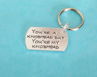 Knobhead sweary hand stamped gift for him valentine unique quality affordable