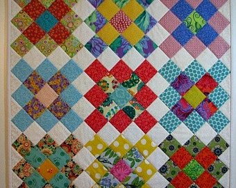 "Modern Quilted Wall Hanging, Granny Squares Mini Quilt, Square Table Topper, Colorful Art Quilt, 26""x26"", Quiltsy Handmade"