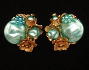 Chunky Aqua Blue Stone Vintage Earrings