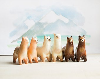 Animal Totem Lama Alpaca, lama glama tiny figurine, peach and brown white home decor, tiny zoo wild animals, woodland, gift for lama lovers