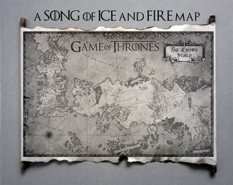 Essos Map and Westeros Map Game of Thrones The Known World Map Scroll A Song of Ice and Fire GoT Map