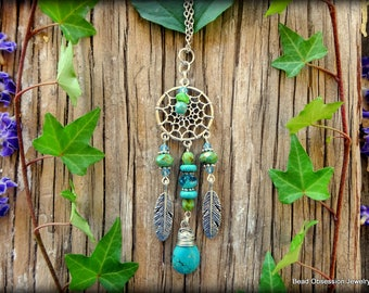 Dream Catcher Necklace; Turquoise Dream Catcher Pendant; Boho Necklace; Hippie Necklace; Feather Jewelry; Dream Catcher; Australian Seller