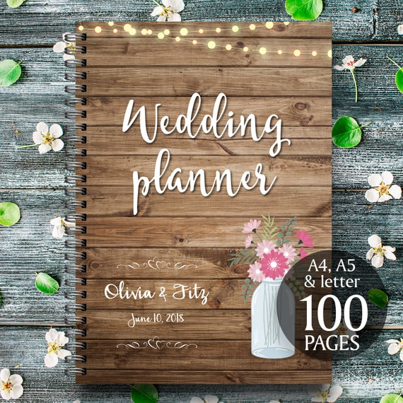 Printable wedding planner, Mason jar wedding planner,  Wood wedding planner, Rustic wedding planner, Wood wedding binder, Wood wedding PDF