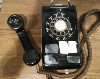 Western electric bell rotary black wall mount telephone