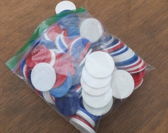 Red, White and Blue Plastic Poker Chips - Colorful and Pretty  - Assorted