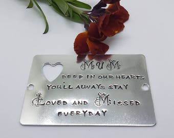 REMEMBERANCE PLAQUE.FAMILY. Hand stamped. Adult or Pets.