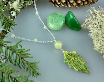 Hand Crocheted Leaf Pendant Microcrochet Necklace Jade Sterling Silver Cotton Forest Leaves Tree Woodland Natural Nature Autumn Green