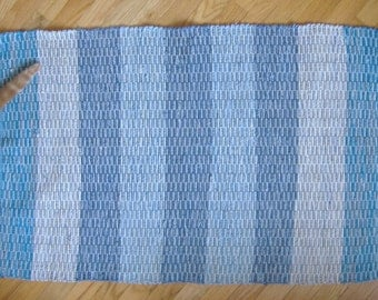 Rag Rug, Aqua/Denim stripes, SK074