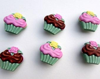 6 cupcake vintage buttons fofuchas , fofupen & 3d foam art, appliques, embellishments
