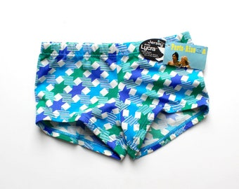 FRENCH vintage 70's / kids / boy / swimming trunks / graphic print / new old stock / size 8 years