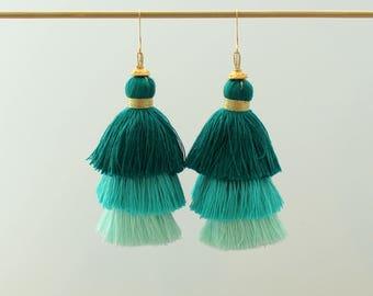 Tiered Tassel Earrings, Ombre Tassel, Coral Tassel Earrings, Blue Tassel Earrings, Statement Earrings, Global Inspired Earring, Tri Color
