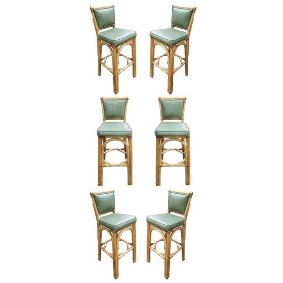 rattan bar stool pair with vinyl seat backs set of six. Black Bedroom Furniture Sets. Home Design Ideas