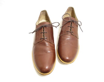 vintage chestnut brown all leather lightweight flat oxford shoes ; size : EU 42 / US women's 10 / UK Women's 7 1/2