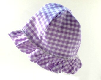 Easter hat, 12 to 36 months, lavender gingham hat, childs beach hat, childs summer hat, ruffled sun hat, toddler hat, childs sun hat