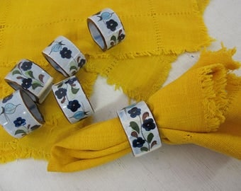 Mexican Napkins and Mexican Napkin Rings Yellow Woven Napkins Set of 6