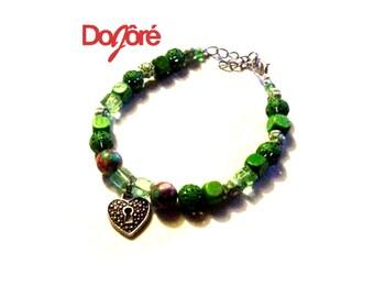 Handmade Silver Keyhole Heart Charm & Green, Mix Glass, Wood, Imitation Gem Beads Bracelet. Women Girls Wristband Bangle Fashion Accessory