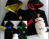 Wizard House Robe, Kids Magic Robe, Harry Potter Hooded Robe, Size: NB to size 2, Custom Order, Cotton Outer & Satin Lining, All Handmade
