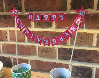 Anniversary /wedding 40th. Ruby wedding Red bunting. cake topper bunting, happy birthday banner. Cake decorations. Birthday one banner
