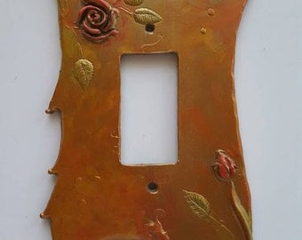 SALE Rose Switch plate, Single Rocker, Desert copper
