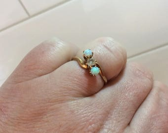Antique 14k gold opal and mine diamond bypass ring
