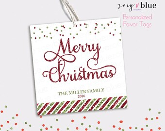 Christmas Gift Tags - Personalized Christmas Hang Tags - Red Green Glitter Confetti Merry Christmas Gift Tags -  Printable Digital File