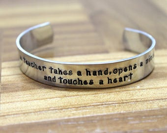 Teacher Gift / Teacher Appreciation / A Teacher Takes a Hand, Opens a Mind, and Touches a Heart / Daycare Gift