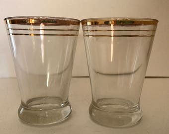 Vintage Pair  Juice Glasses with Gold Trim  Nice condition- 4 ounce