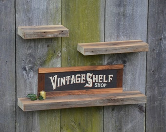 Set of Three Weathered Grey Ledge Shelves
