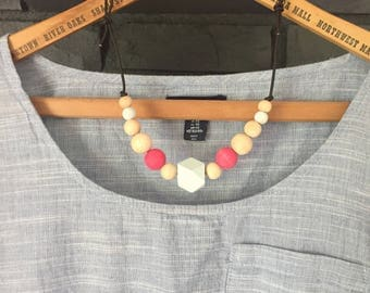 Wood bead hand painted blue and salmon pink necklace statement necklace