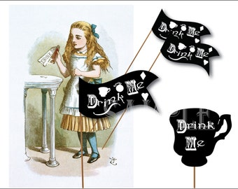 Alice DRINK ME Printable Drink Flag JPG Cupcake Topper Teacup Heart Diamond Pocket Watch Black and White Victorian Mad Hat Tea Party Decor