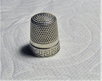 Antique Simons Brothers Sterling Silver Thimble Greek Key Design on Band.