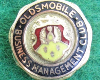 Original 1940's Oldsmobile Business Management Club Gold Filled Pin Back Button - Free Shipping