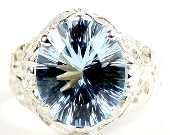 Quantum Cut Swiss Blue Topaz, 925 Sterling Silver Ring, SR114