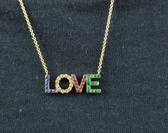 Love necklace, Sapphires love necklace, Bespoke necklace, Solid gold love, Multi coloured  necklace,  Custom necklace,  Any colour necklace
