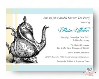 Bridal Shower Tea Party Invitation (Printable) Bridal Tea Party Invitation  - Bridal Tea Invitation - Tea Party Bridal Shower Invitation